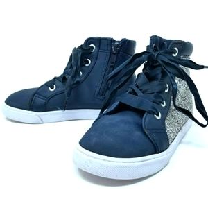 DISNEY-FROZEN NAVY & SILVER GLITTER HI-TOP SZ 9.5